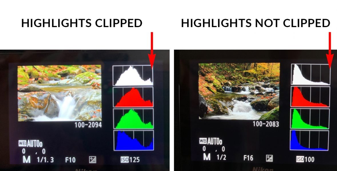 example histogram of clipped highlights