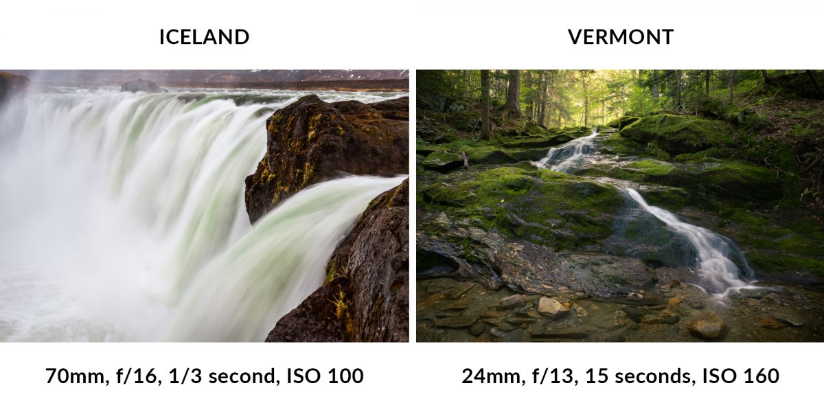 Comparing an Iceland waterfall to a Vermont stream waterfall