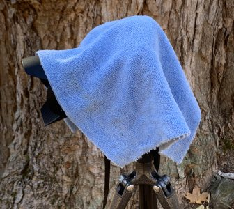 Camera covered with microfiber cloth