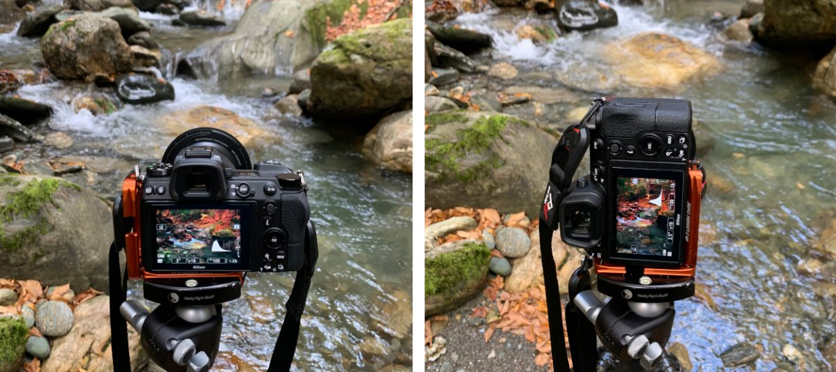 L-bracket on camera in two orientations