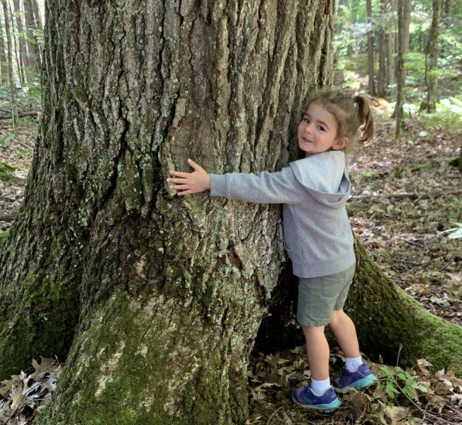 Maya hugging tree